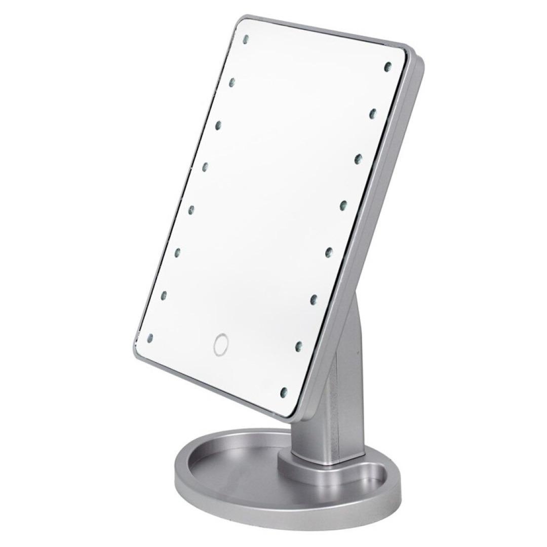 Grijze make up spiegel met led verlichting 17 x 28 cm
