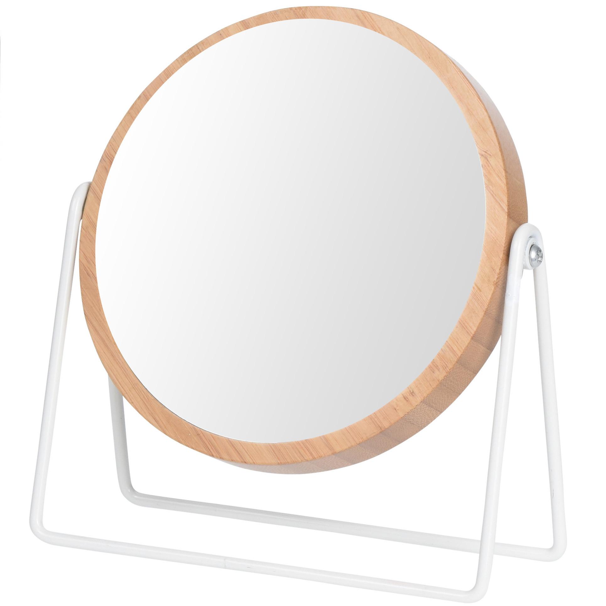 Houten make up spiegel rond dubbelzijdig 17 x 21 cm