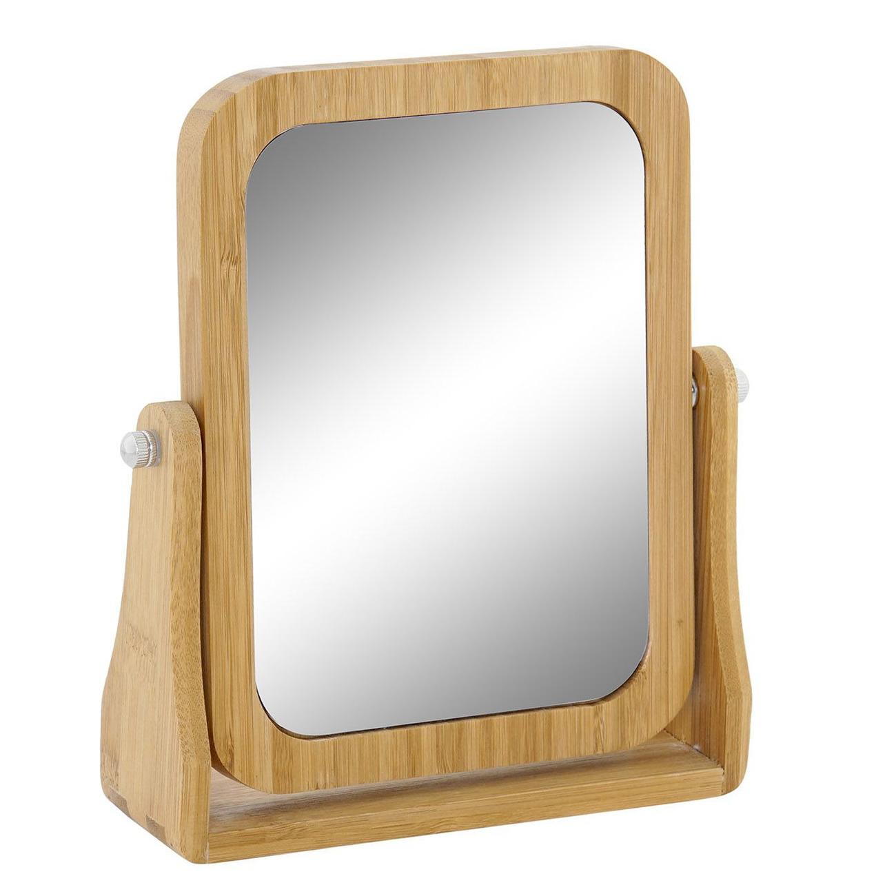 Make up spiegel bamboe 21 x 5 5 x 21 cm