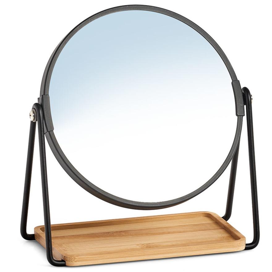 Make up spiegel metaal bamboe 17 5 x 20 5 cm