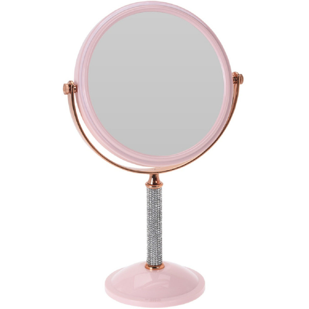 Roze make up spiegel met strass steentjes rond dubbelzijdig 17 5 x 33 cm