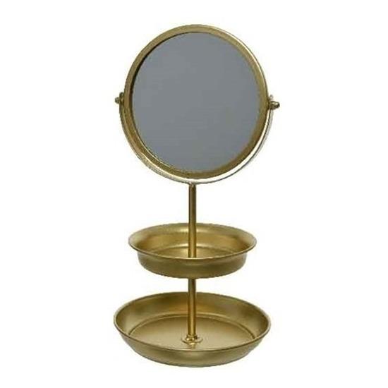 Sieraden make up spiegel met etagere goud 16 x 32 5 cm