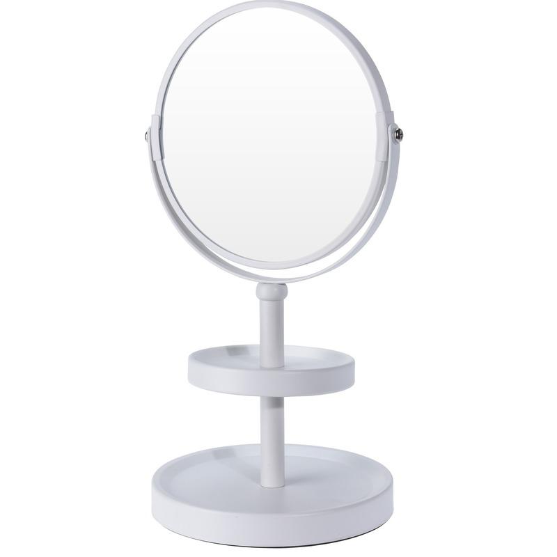 Witte make up spiegel met sieraden plateau 25 cm