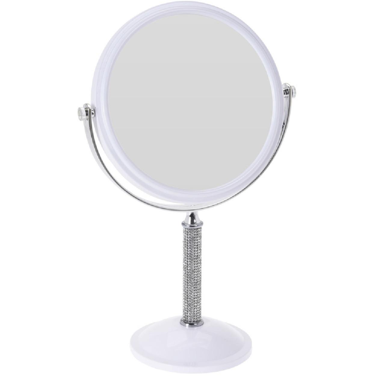 Witte make up spiegel met strass steentjes rond dubbelzijdig 17 5 x 33 cm