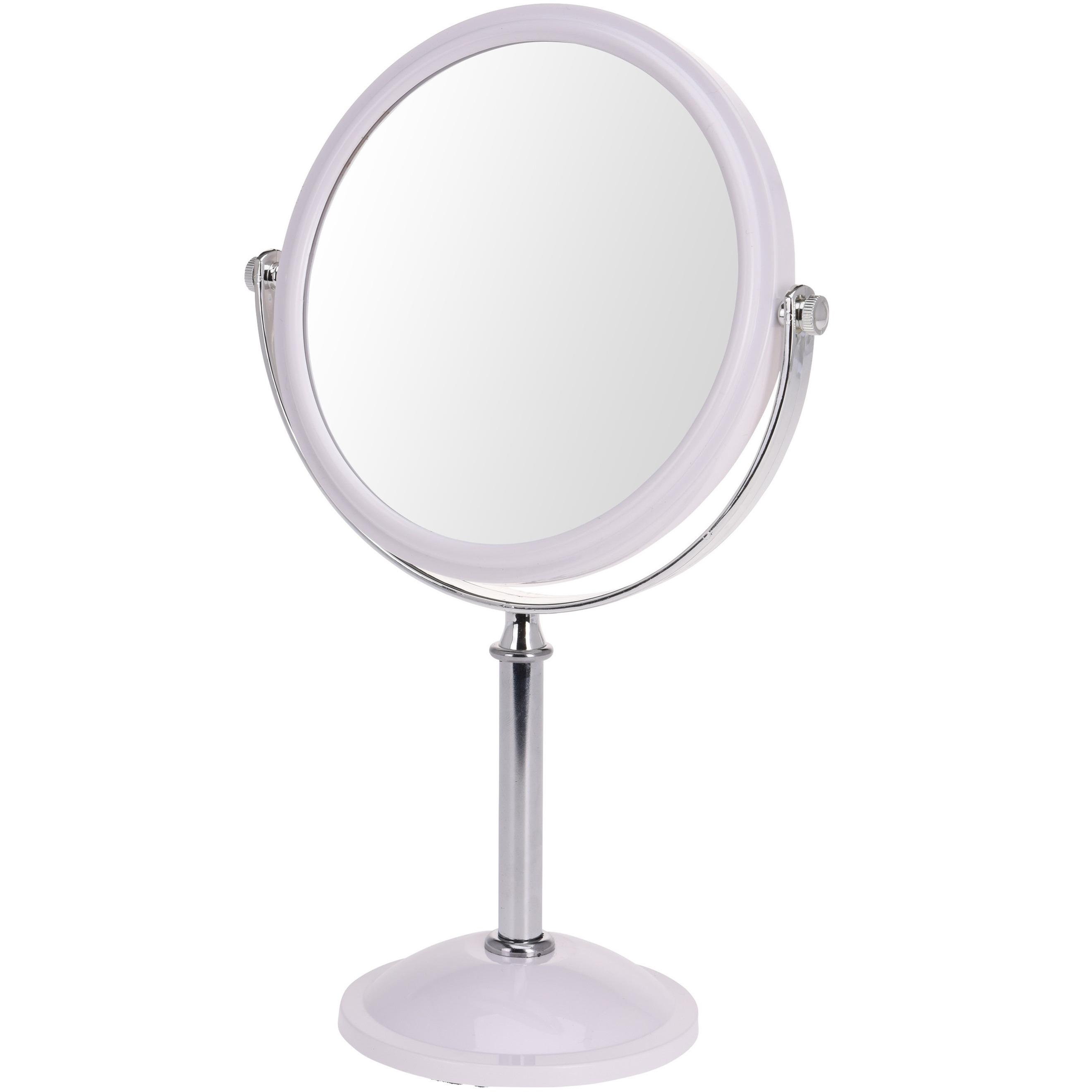 Witte make up spiegel rond dubbelzijdig 18 x 24 cm