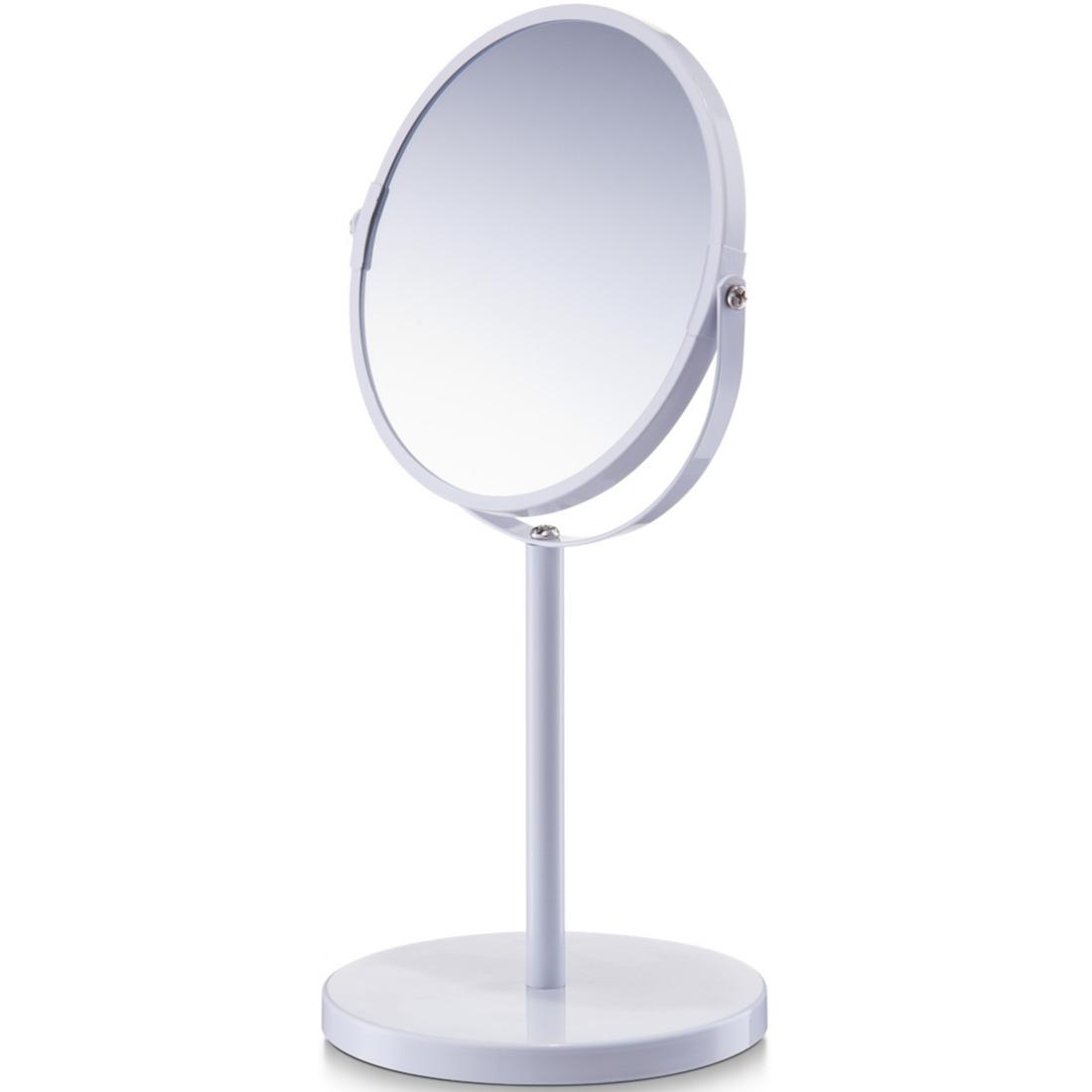 Witte make-up spiegel rond dubbelzijdig 15 x 26 cm
