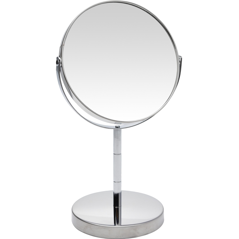 Zilveren make-up spiegel rond dubbelzijdig 14 x 26 cm