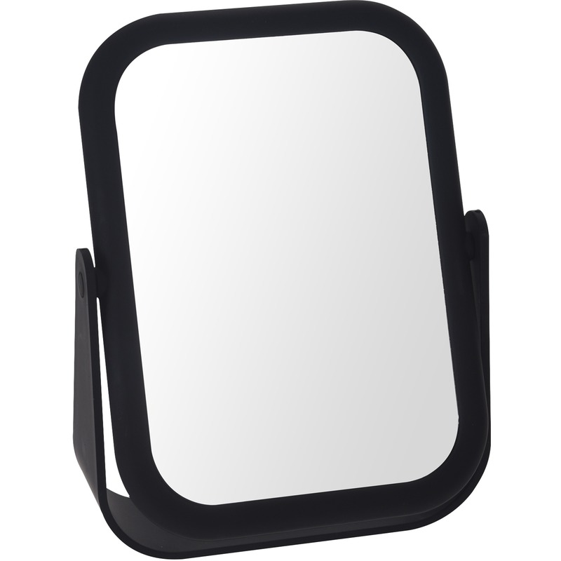 Zwarte make up spiegel dubbelzijdig 18 cm