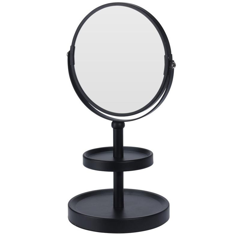 Zwarte make up spiegel met sieraden plateau 25 cm