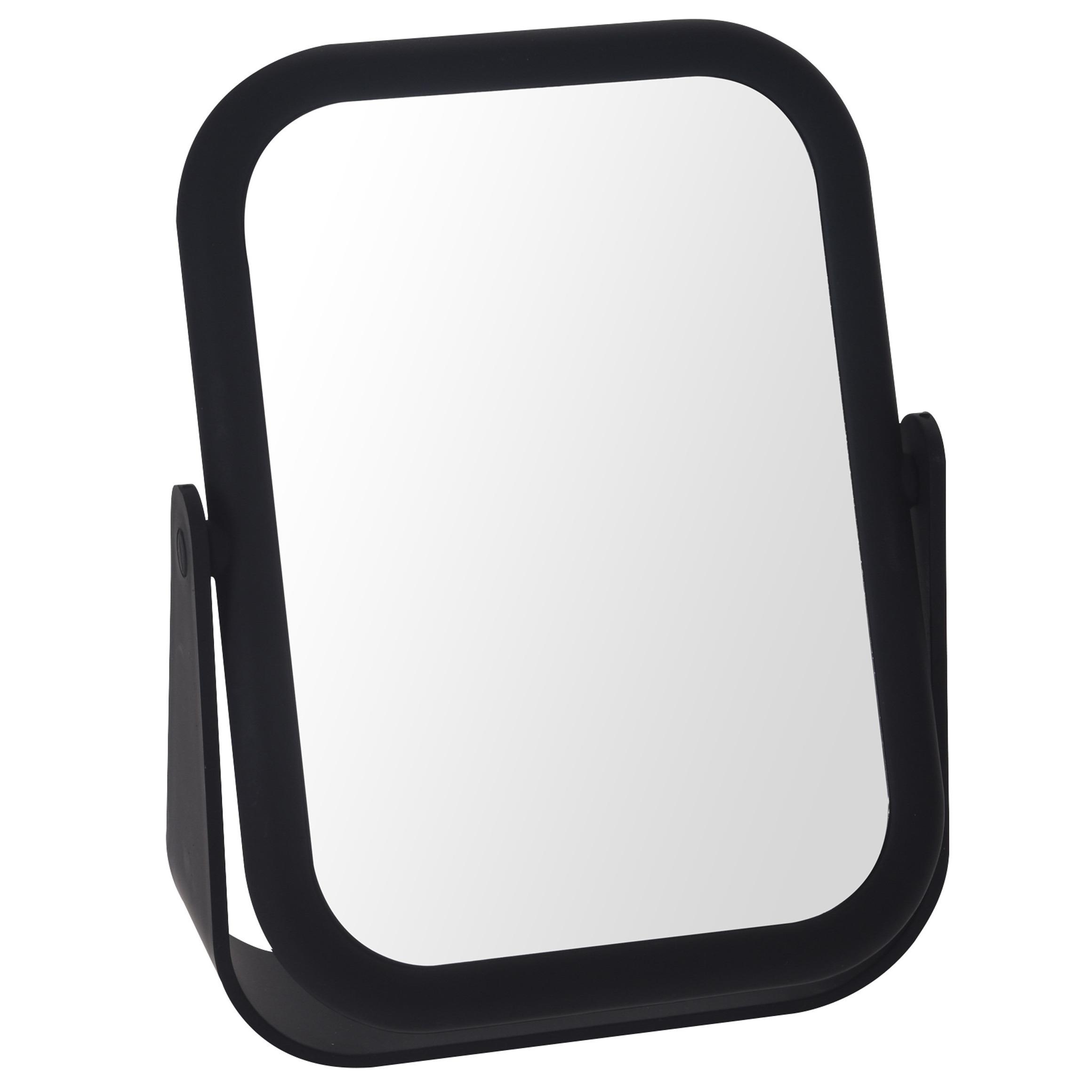 Zwarte make up spiegel rechthoek dubbelzijdig 15 x 21 cm